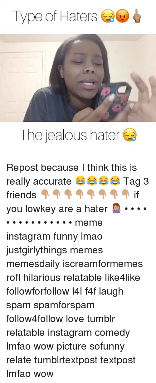 hater meme: Type of Haters  The jealous hater Repost because I think this is really accurate 😂😂😂😂 Tag 3 friends 👇🏽👇🏽👇🏽👇🏽👇🏽👇🏽👇🏽👇🏽 if you lowkey are a hater 🤷🏽♀️ • • • • • • • • • • • • • • • meme instagram funny lmao justgirlythings memes memesdaily iscreamformemes rofl hilarious relatable like4like followforfollow l4l f4f laugh spam spamforspam follow4follow love tumblr relatable instagram comedy lmfao wow picture sofunny relate tumblrtextpost textpost lmfao wow