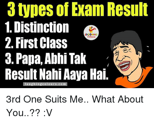 Suits, Indianpeoplefacebook, and Papa: types of Exam Result  1. Distinction  2. First Class  3. Papa, Abhi Tak  Result Nahi Aaya Hai.  laughing colours.com 3rd One Suits Me..  What About You..?? :V