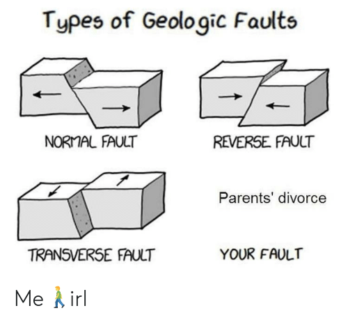 Divorce: Types of Geologic Faults  NORMAL FAULT  REVERSE FAULT  Parents' divorce  TRANSVERSE FAULT  YOUR FAULT Me🚶‍♂️irl
