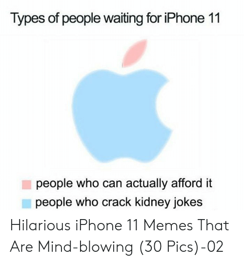 Types Of: Types of people waiting for iPhone 11  people who can actually afford it  people who crack kidney jokes Hilarious iPhone 11 Memes That Are Mind-blowing (30 Pics)-02