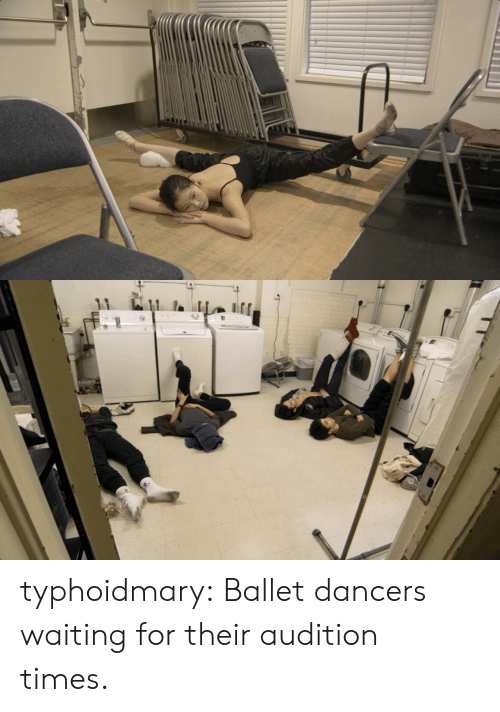 Dancers: typhoidmary:  Ballet dancers waiting for their audition times.