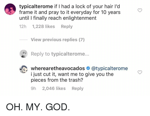 enlightenment: typicalterome if I had a lock of your hair l'd  frame it and pray to it everyday for 10 years  until l finally reach enlightenment  12h 1,228 likes Reply  View previous replies (7)  Reply to typicalterome...  wherearetheavocados @typicalterome  i just cut it, want me to give you the  pieces from the trash?  9h 2,046 likes Reply OH. MY. GOD.