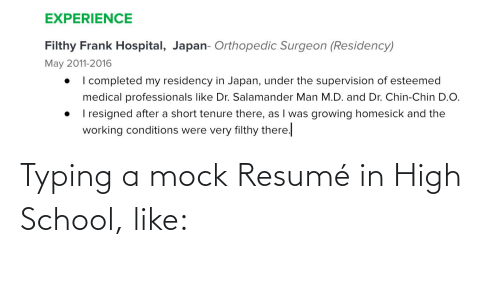 Resume: Typing a mock Resumé in High School, like: