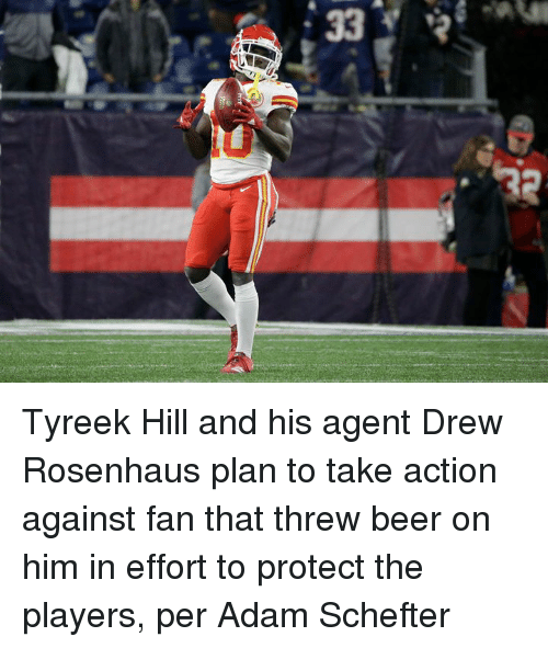 Tyreek Hill: Tyreek Hill and his agent Drew Rosenhaus plan to take action against fan that threw beer on him in effort to protect the players, per Adam Schefter