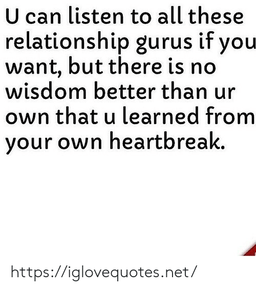 Wisdom, Net, and Can: U can listen to all these  relationship gurus if you  want, but there is no  wisdom better than ur  own that u learned from  your own heartbreak. https://iglovequotes.net/