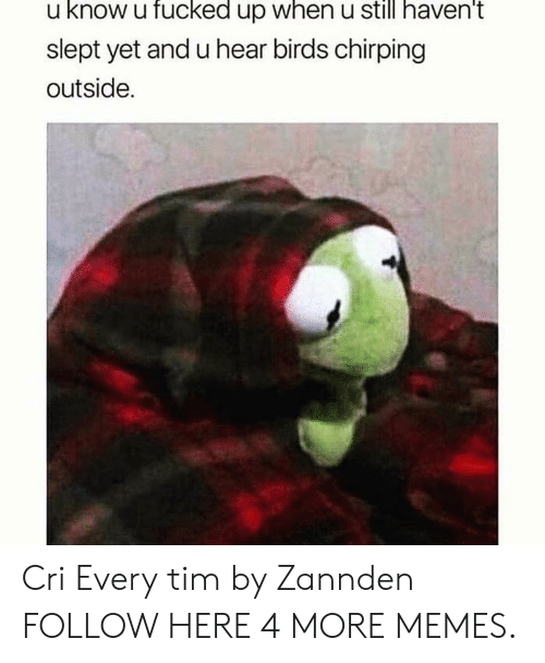 Cri: u know u fucked up when u still haven't  slept yet and u hear birds chirping  outside. Cri Every tim by Zannden FOLLOW HERE 4 MORE MEMES.
