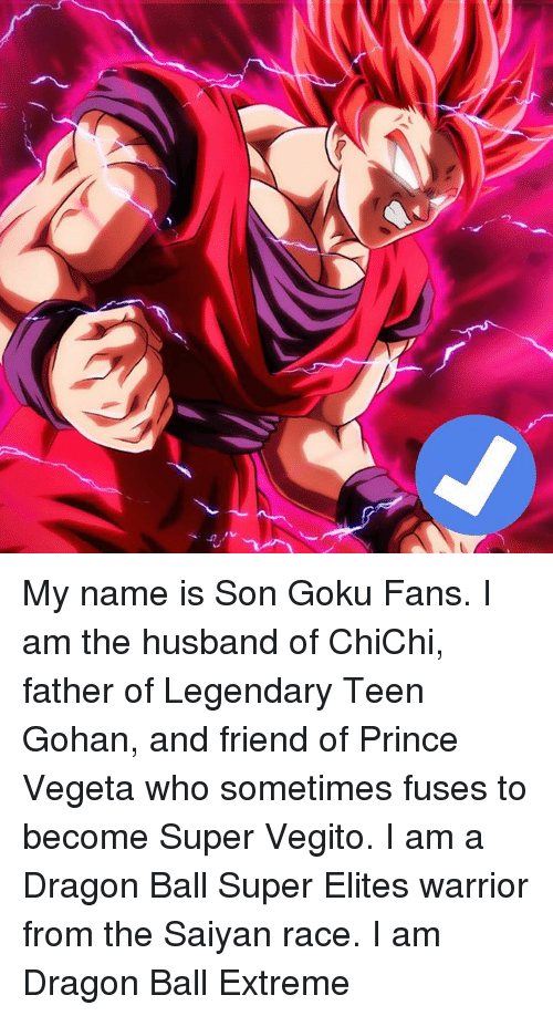 Gohan, Goku, and Prince: U, My name is Son Goku Fans. I am the husband of ChiChi, father of Legendary Teen Gohan, and friend of Prince Vegeta who sometimes fuses to become Super Vegito. I am a Dragon Ball Super Elites warrior from the Saiyan race. I am Dragon Ball Extreme