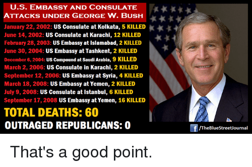 Us Embassy And Consulate K Attacks Under George W Bush January 22