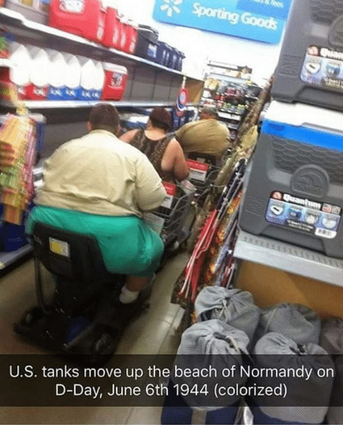 normandy: U.S. tanks move up the beach of Normandy on  D-Day, June 6th 1944 (colorized)