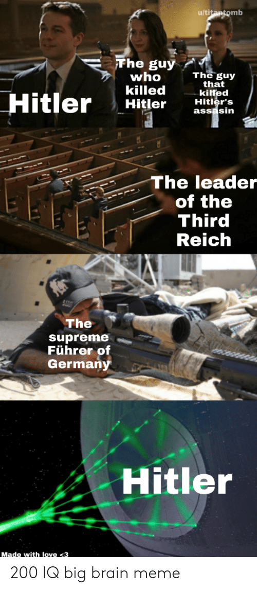 Love, Meme, and Supreme: u/titantomb  Fhe guy  who  killed  Hitler  The guy  that  kilted  Hitler's  assasin  Hitler  The leader  of the  Third  Reich  The  supreme  Führer of  Germany  Hitler  Made with love <3 200 IQ big brain meme