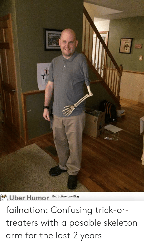Tumblr, Uber, and Blog: Uber Humor  Bob Loblaw Law Blog failnation:  Confusing trick-or-treaters with a posable skeleton arm for the last 2 years
