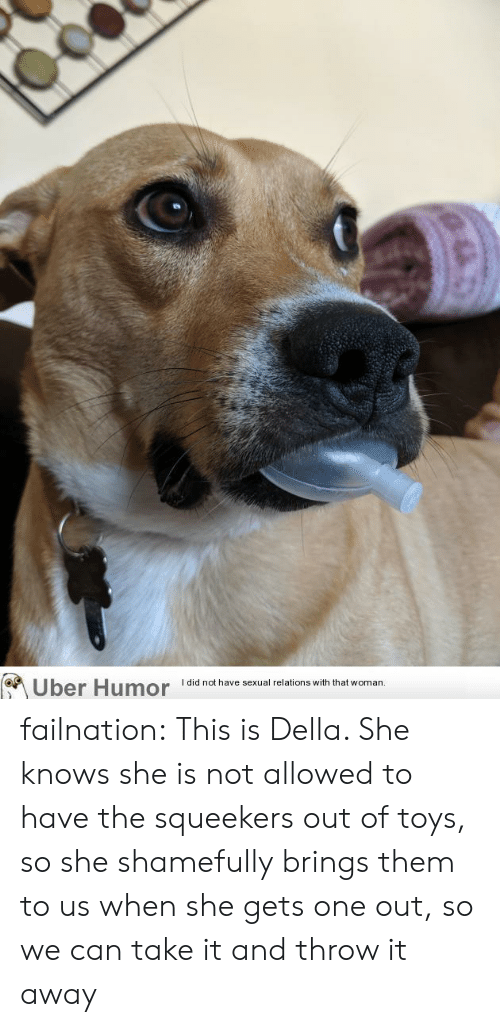 she knows: Uber Humor  I did not have sexual relations with that woman.  @u failnation:  This is Della. She knows she is not allowed to have the squeekers out of toys, so she shamefully brings them to us when she gets one out, so we can take it and throw it away