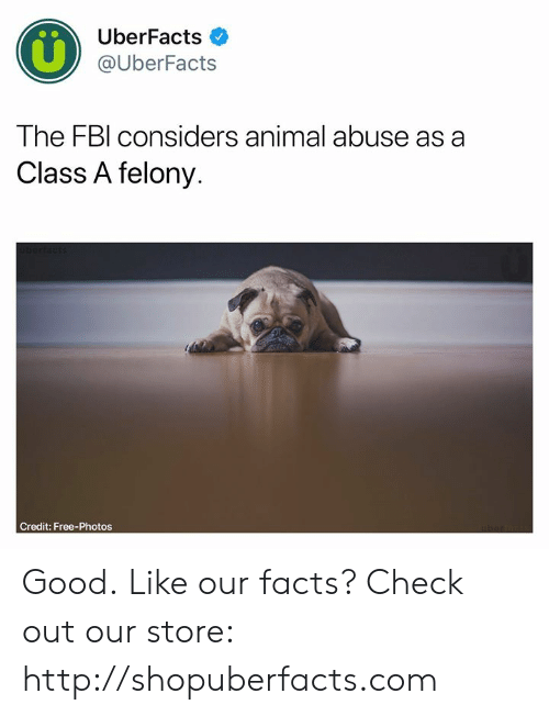Animal Abuse: UberFacts  @UberFacts  The FBl considers animal abuse as a  Class A felony.  Credit: Free-Photos Good.  Like our facts? Check out our store: http://shopuberfacts.com