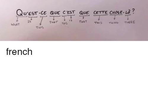 cest: U'EST-CE QUE C'EST QUE CETTE CHOSE-L?  THaT Tuis  TH a T  THERE  TH' S  THING  WHAT Is  T니 is french