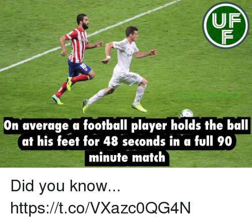 Football Player: UF  On average a football player holds the ball  at his feet for 48 seconds in a full 90  minute match Did you know... https://t.co/VXazc0QG4N