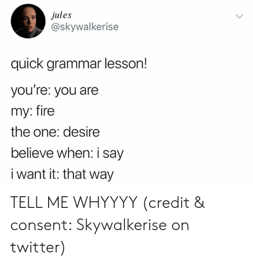 Fire, Twitter, and One: ules  @skywalkerise  quick grammar lesson!  you re: you are  my: fire  the one: desire  believe when: i say  i want it: that way TELL ME WHYYYY (credit & consent: Skywalkerise on twitter)