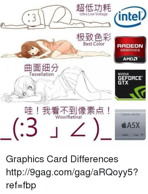 Dank, 🤖, and Color: Ultra Low Voltage  Best Color  Tessellation  Wow! Retina!  RADEON  GRAPHICS  NVIDIA  GEFORCE  GTX  1145 Graphics Card Differences http://9gag.com/gag/aRQoyy5?ref=fbp