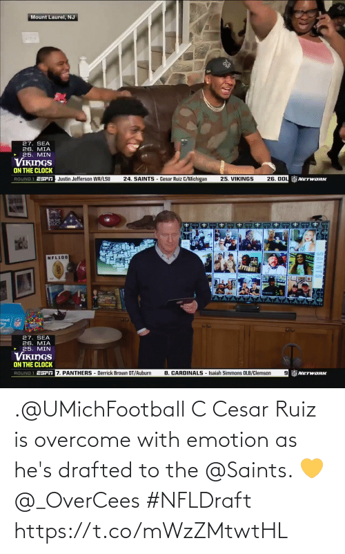 Overcome: .@UMichFootball C Cesar Ruiz is overcome with emotion as he's drafted to the @Saints. 💛 @_OverCees #NFLDraft https://t.co/mWzZMtwtHL