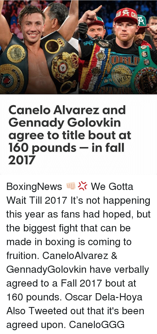 fruition: UNAM  Canelo Alvarez and  Gennady Golovkin  agree to title bout at  160 pounds  in fall  2017 BoxingNews 👊🏻💢 We Gotta Wait Till 2017 It's not happening this year as fans had hoped, but the biggest fight that can be made in boxing is coming to fruition. CaneloAlvarez & GennadyGolovkin have verbally agreed to a Fall 2017 bout at 160 pounds. Oscar Dela-Hoya Also Tweeted out that it's been agreed upon. CaneloGGG