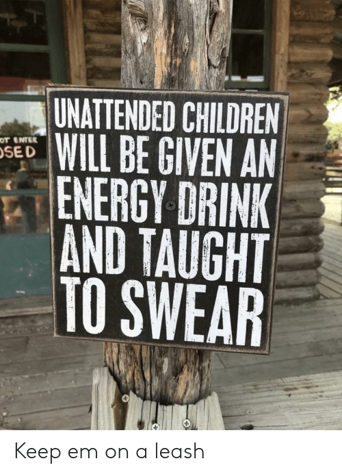 On A Leash: UNATTENDED CHILDREN  WILL BE GIVEN AN  ENERGY DRINK  AND TAUGHT  TO SWEAR  OT ENTER  SE D Keep em on a leash
