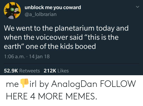 """Dank, Memes, and Target: unblock me you coward  @a_lolbrarian  We went to the planetarium today and  when the voiceover said """"this is the  earth"""" one of the kids booed  1:06 a.m. 14 Jan 18  52.9K Retweets 212K Likes me👎irl by AnalogDan FOLLOW HERE 4 MORE MEMES."""