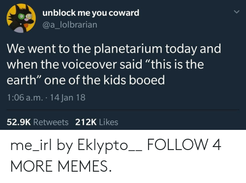 """Dank, Memes, and Target: unblock me you  coward  @a_lolbrarian  We went to the planetarium today and  when the voiceover said """"this is the  earth"""" one of the kids booed  1:06 a.m. 14 Jan 18  52.9K Retweets 212K Likes me_irl by Eklypto__ FOLLOW 4 MORE MEMES."""