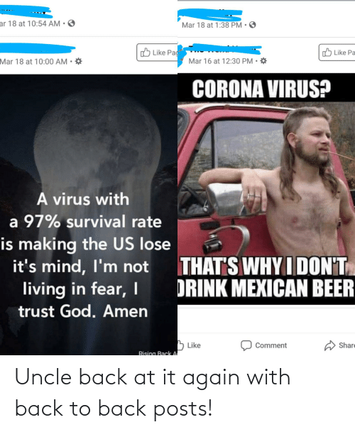 Back to Back: Uncle back at it again with back to back posts!