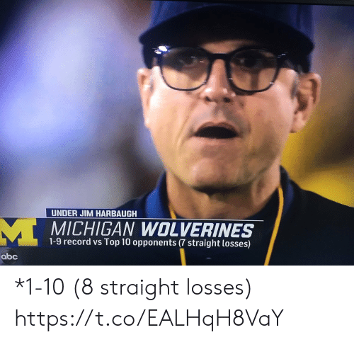 Jim Harbaugh: UNDER JIM HARBAUGH  MICHIGAN WOLVERINES  1-9 record vs Top 10 opponents (7 straight losses)  abc *1-10 (8 straight losses) https://t.co/EALHqH8VaY