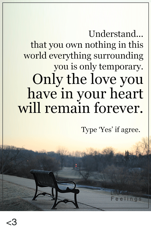 Understanded: Understand...  that you own nothing in this  world everything surrounding  you is only temporary  Only the love you  have in your heart  will remain forever.  Type 'Yes' if agree.  Feeling s <3