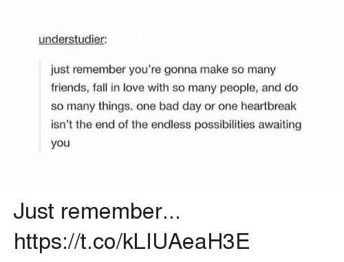 Bad, Bad Day, and Fall: understudier:  just remember you're gonna make so many  friends, fall in love with so many people, and do  so many things. one bad day or one heartbreak  isn't the end of the endless possibilities awaiting  you Just remember... https://t.co/kLIUAeaH3E