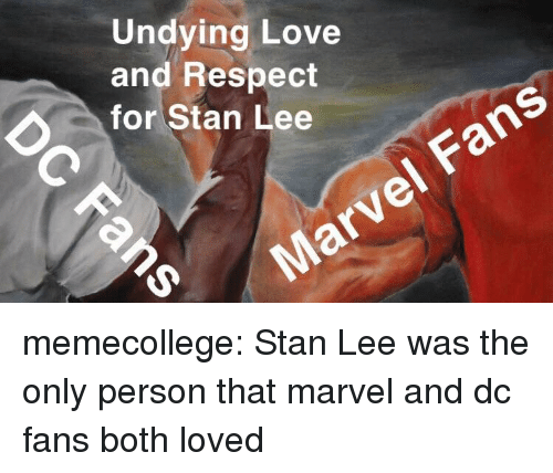 Love, Respect, and Stan: Undying Love  and Respect  for Stan Lee  Fans memecollege:  Stan Lee was the only person that marvel and dc fans both loved