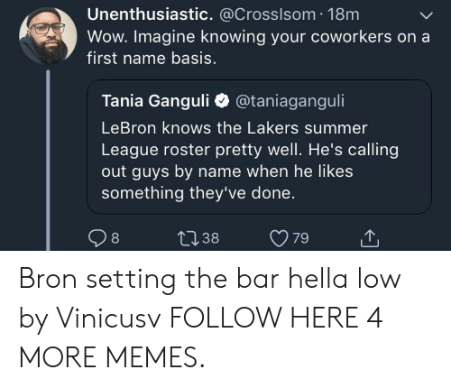 Dank, Los Angeles Lakers, and Memes: Unenthusiastic. @Crosslsom 18m  Wow. Imagine knowing your coworkers on a  first name basis.  Tania Ganguli @taniaganguli  LeBron knows the Lakers summer  League roster pretty well. He's calling  out guys by name when he likes  something they've done. Bron setting the bar hella low by Vinicusv FOLLOW HERE 4 MORE MEMES.