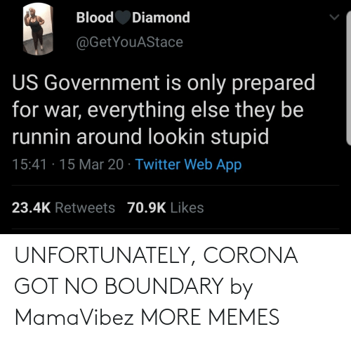 unfortunately: UNFORTUNATELY, CORONA GOT NO BOUNDARY by MamaVibez MORE MEMES