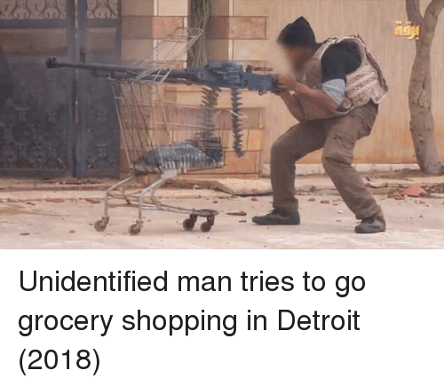 grocery shopping: Unidentified man tries to go grocery shopping in Detroit (2018)