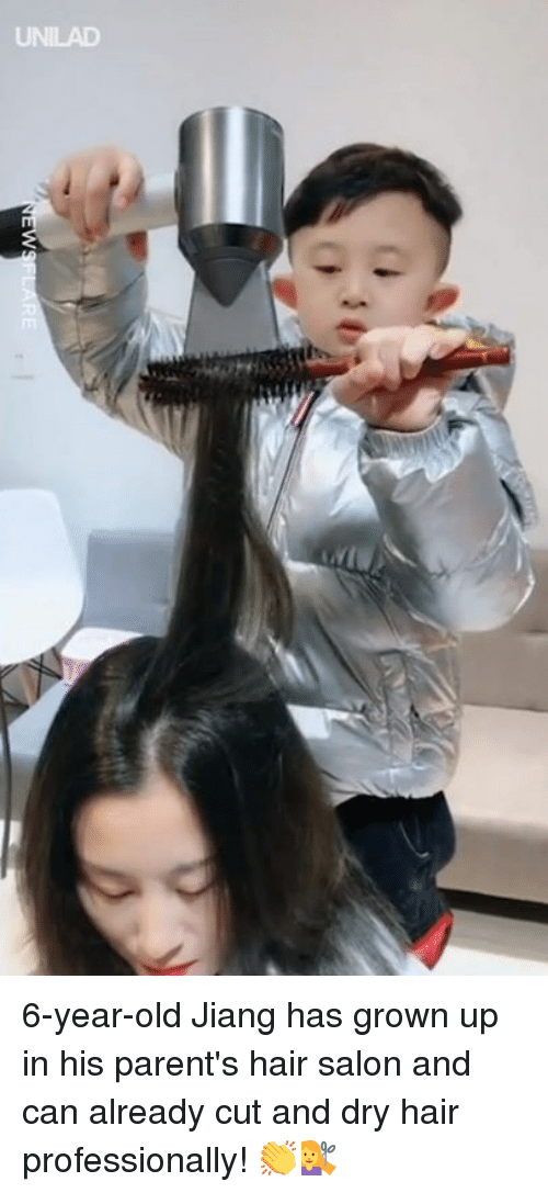 Dank, Parents, and Hair: UNILAD 6-year-old Jiang has grown up in his parent's hair salon and can already cut and dry hair professionally! 👏💇