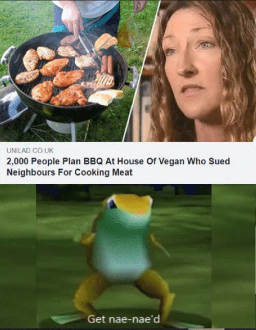 neighbours: UNILAD CO.UK  2,000 People Plan BBQ At House Of Vegan Who Sued  Neighbours For Cooking Meat  Get nae-nae'd