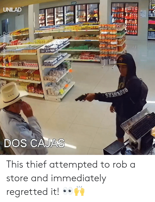 Dank, 🤖, and Thief: UNILAD  DOS CAJAS This thief attempted to rob a store and immediately regretted it! 👀🙌