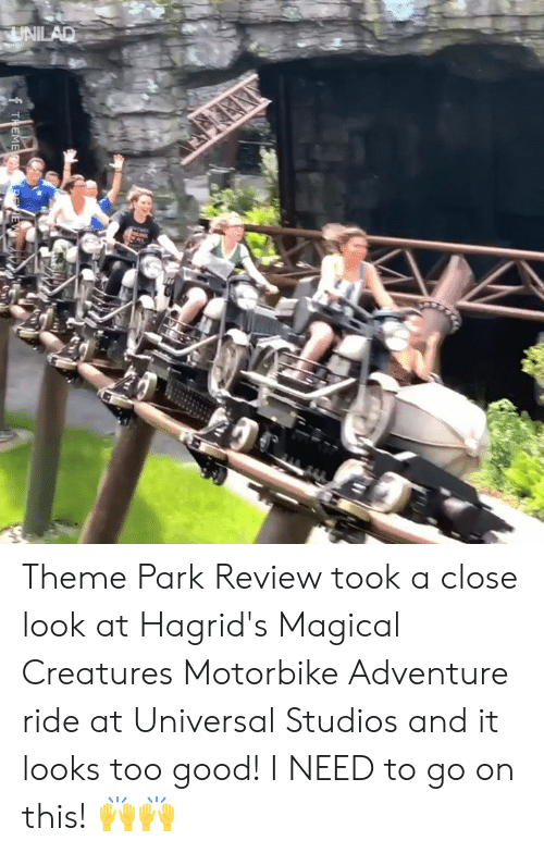 theme park: UNILAD  THEMERA. E Theme Park Review took a close look at Hagrid's Magical Creatures Motorbike Adventure ride at Universal Studios and it looks too good! I NEED to go on this! 🙌🙌