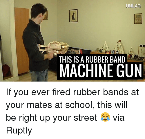 Rubber Banding: UNILAD  THIS IS A RUBBER BAND  MACHINE GUN If you ever fired rubber bands at your mates at school, this will be right up your street 😂  via Ruptly