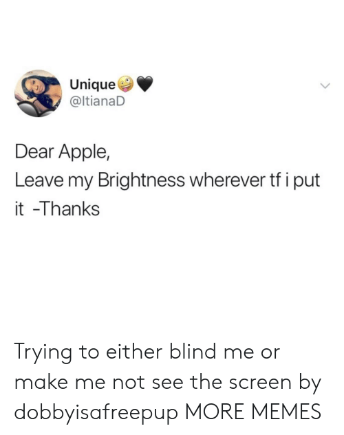 Apple, Dank, and Memes: Unique  @ltianaD  Dear Apple,  Leave my Brightness wherever tf iput  it -Thanks Trying to either blind me or make me not see the screen by dobbyisafreepup MORE MEMES