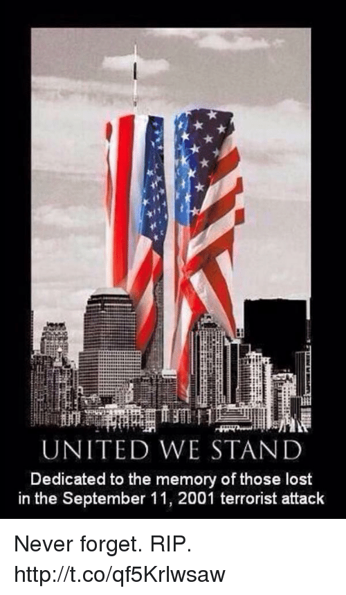 United We Stand: UNITED WE STAND  Dedicated to the memory of those lost  in the September 11, 2001 terrorist attack Never forget. RIP. http://t.co/qf5Krlwsaw
