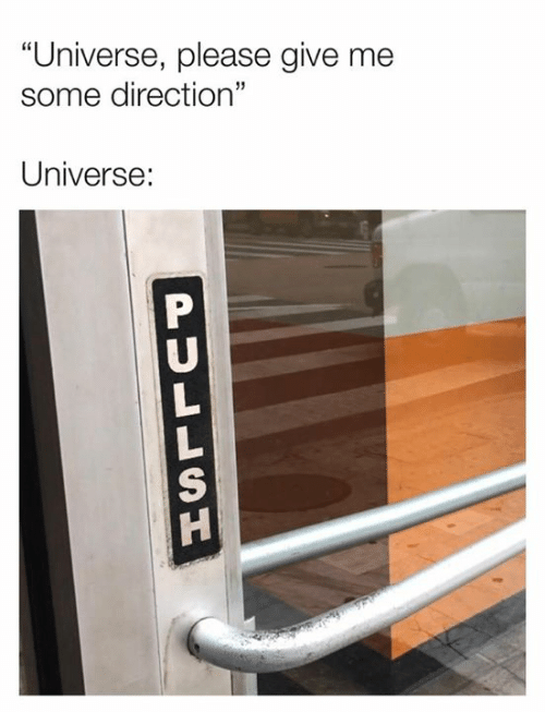 """Dank, 🤖, and Universe: """"Universe, please give me  some direction""""  Universe:  PULLSU"""
