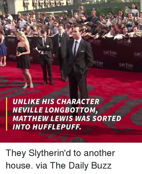 Neville Longbottomed: UNLIKE HIS CHARACTER  NEVILLE LONGBOTTOM,  MATTHEW LEWIS WAS SORTED They Slytherin'd to another house.  via The Daily Buzz