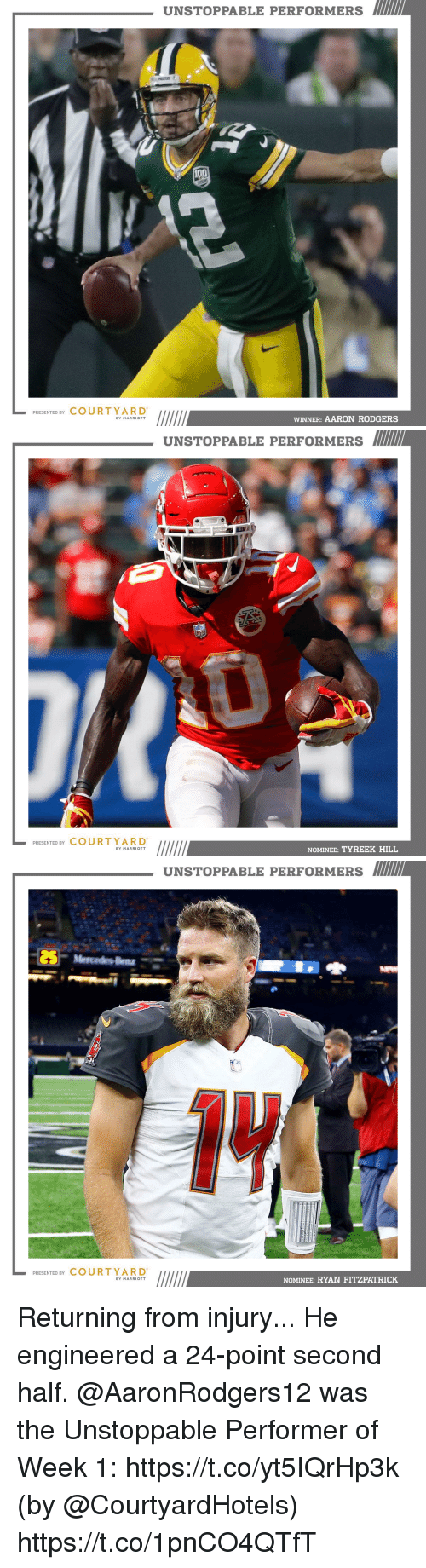 Tyreek Hill: UNSTOPPABLE PERFORMERS  PRESENTED BY COURTYARD  WINNER: AARON RODGERS  BY MARRIOTT   UNSTOPPABLE PERFORMERS  PRESENTED BY COURT YARD  NOMINEE: TYREEK HILL  BY MARRIOTT   UNSTOPPABLE PERFORMERS  PRESENTED BY COURTYARD  NOMINEE: RYAN FITZPATRICK  BY MARRIOTT Returning from injury... He engineered a 24-point second half.  @AaronRodgers12 was the Unstoppable Performer of Week 1: https://t.co/yt5IQrHp3k (by @CourtyardHotels) https://t.co/1pnCO4QTfT