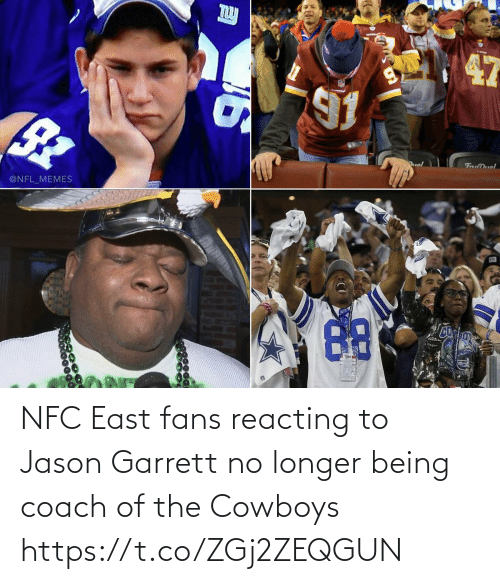 coach: uol  FanDuel  @NFL_MEMES NFC East fans reacting to Jason Garrett no longer being coach of the Cowboys https://t.co/ZGj2ZEQGUN