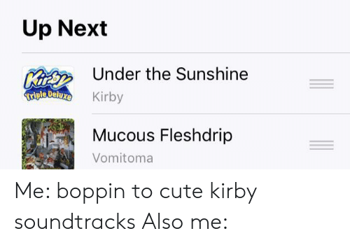 Mucous: Up Next  K  Triple Deluxe  Under the Sunshine  Kirby  Mucous Fleshdrip  Vomitoma Me: boppin to cute kirby soundtracks Also me: