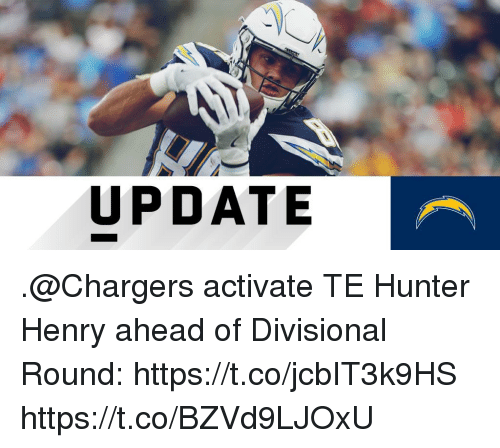 Activate: UPDATE .@Chargers activate TE Hunter Henry ahead of Divisional Round: https://t.co/jcbIT3k9HS https://t.co/BZVd9LJOxU