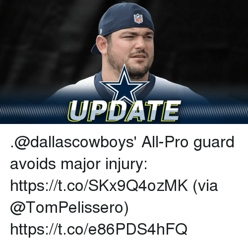Memes, Pro, and 🤖: UPDATE .@dallascowboys' All-Pro guard avoids major injury: https://t.co/SKx9Q4ozMK (via @TomPelissero) https://t.co/e86PDS4hFQ