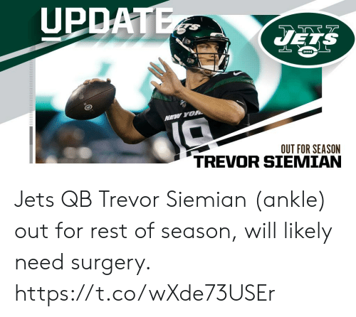 Memes, Jets, and 🤖: UPDATE  JELS  HH  NEW YOR  OUT FOR SEASON Jets QB Trevor Siemian (ankle) out for rest of season, will likely need surgery. https://t.co/wXde73USEr