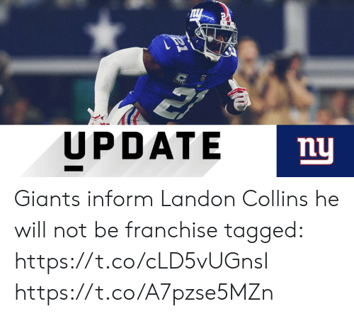 Informative: UPDATE  mu Giants inform Landon Collins he will not be franchise tagged: https://t.co/cLD5vUGnsI https://t.co/A7pzse5MZn